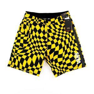 NWT Vans Lemon Chrome Checkerboard Boardshorts